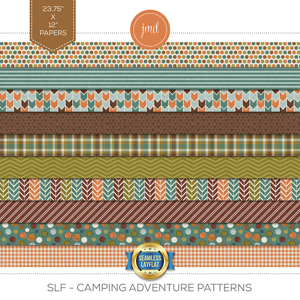 SLF - Camping Adventure Patterns Digital Art - Digital Scrapbooking Kits