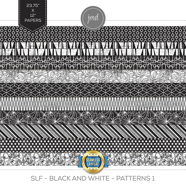SLF - Black and White - Patterns 1 Digital Art - Digital Scrapbooking Kits