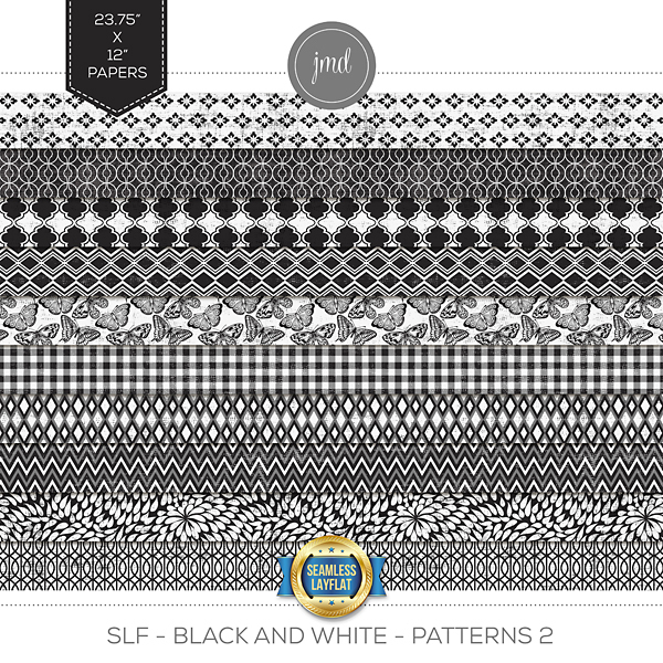 SLF - Black and White - Patterns 2 Digital Art - Digital Scrapbooking Kits