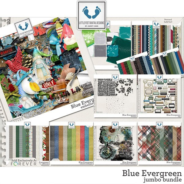 Blue Evergreen Jumbo Bundle Digital Art - Digital Scrapbooking Kits