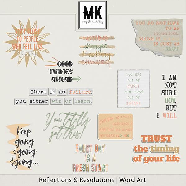 Reflections & Resolutions Word Art Digital Art - Digital Scrapbooking Kits