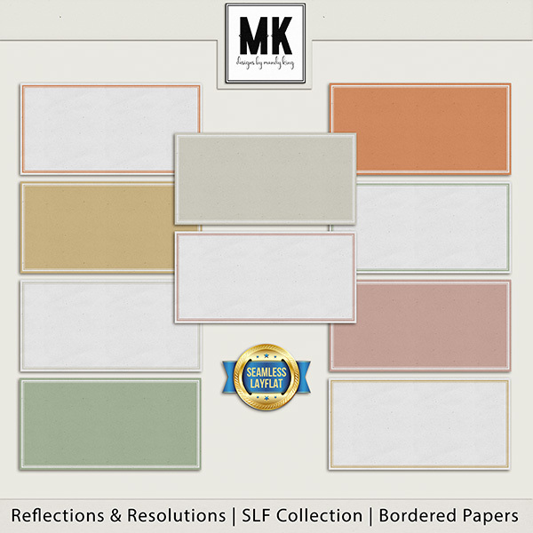 Reflections & Resolutions - SLF Collection - Bordered Papers Digital Art - Digital Scrapbooking Kits