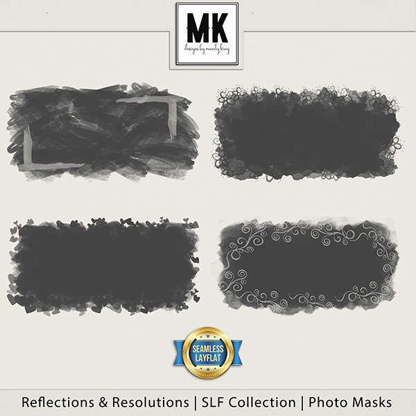 Reflections & Resolutions - SLF Collection - Photo Masks Digital Art - Digital Scrapbooking Kits