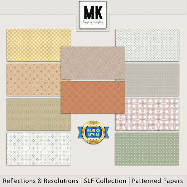 Reflections & Resolutions - SLF Collection - Patterned Papers Digital Art - Digital Scrapbooking Kits