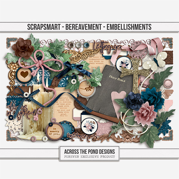 Bereavement Embellishments Digital Art - Digital Scrapbooking Kits