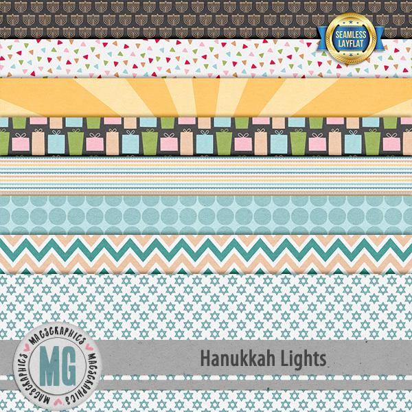 Hanukkah Lights SLF Papers Digital Art - Digital Scrapbooking Kits