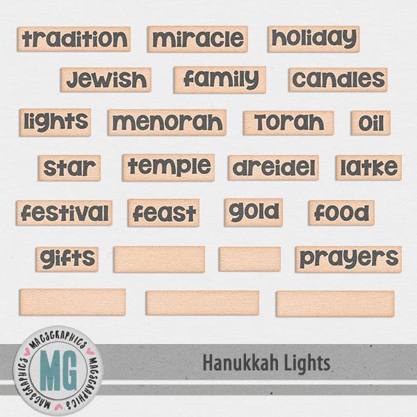 Hanukkah Lights Word Tags Digital Art - Digital Scrapbooking Kits