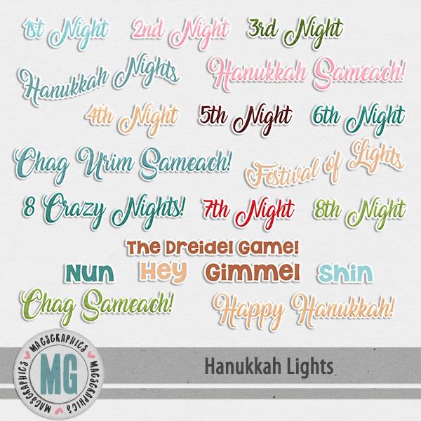 Hanukkah Lights Titles Digital Art - Digital Scrapbooking Kits