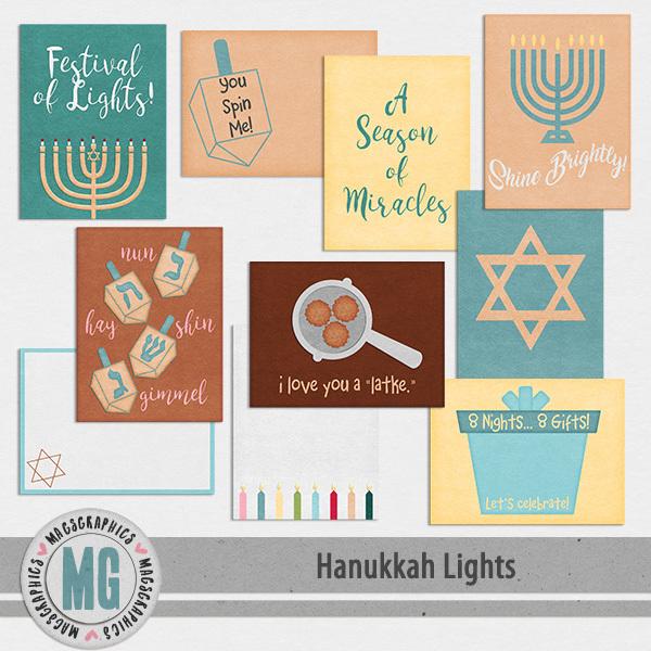 Hanukkah Lights Journal Cards Digital Art - Digital Scrapbooking Kits