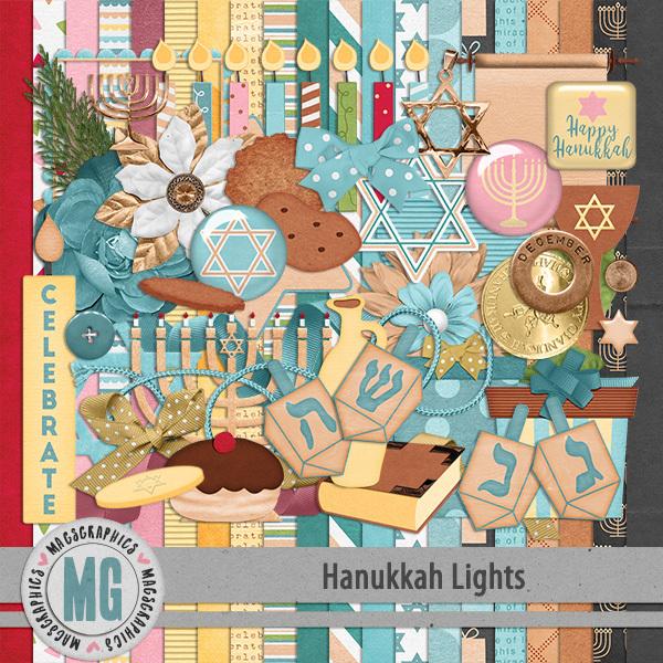 Hanukkah Lights Kit Digital Art - Digital Scrapbooking Kits