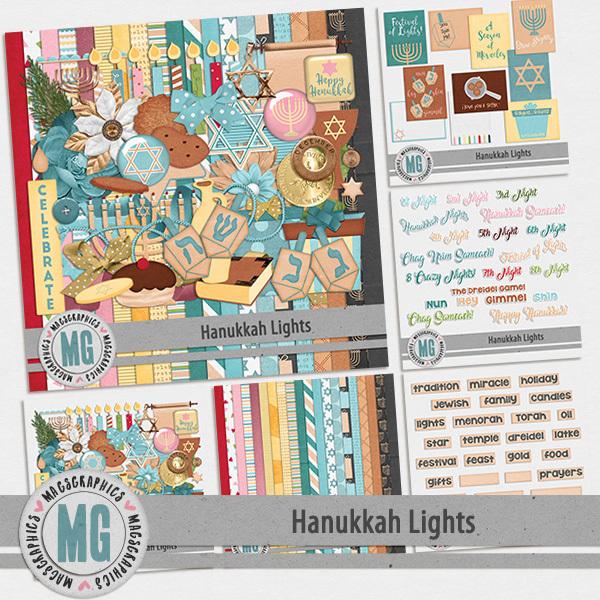 Hanukkah Lights Bundle Digital Art - Digital Scrapbooking Kits