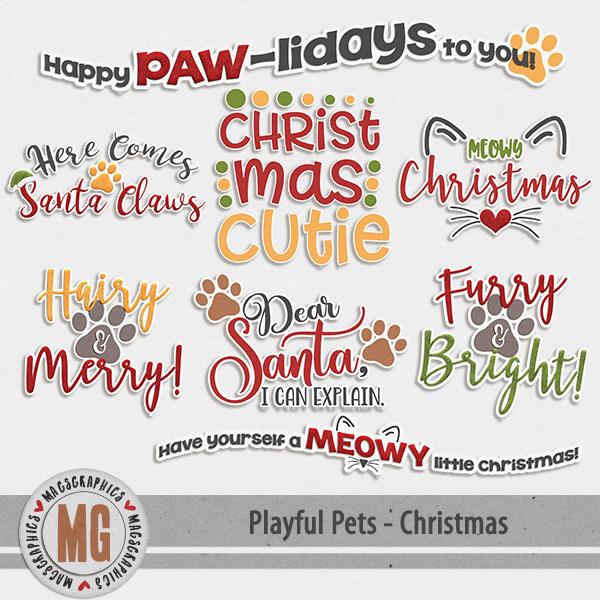 Playful Pets Christmas Word Art Digital Art - Digital Scrapbooking Kits