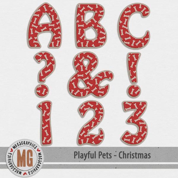 Playful Pets Christmas Alpha Digital Art - Digital Scrapbooking Kits