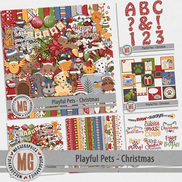 Playful Pets Christmas Bundle Digital Art - Digital Scrapbooking Kits