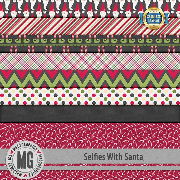 Selfies With Santa SLF Papers Digital Art - Digital Scrapbooking Kits