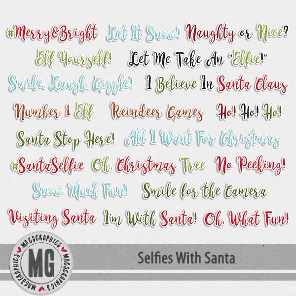 Selfies With Santa Sticker Tags Digital Art - Digital Scrapbooking Kits