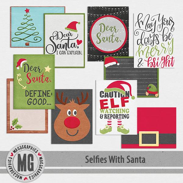 Selfies With Santa Journal Cards Digital Art - Digital Scrapbooking Kits