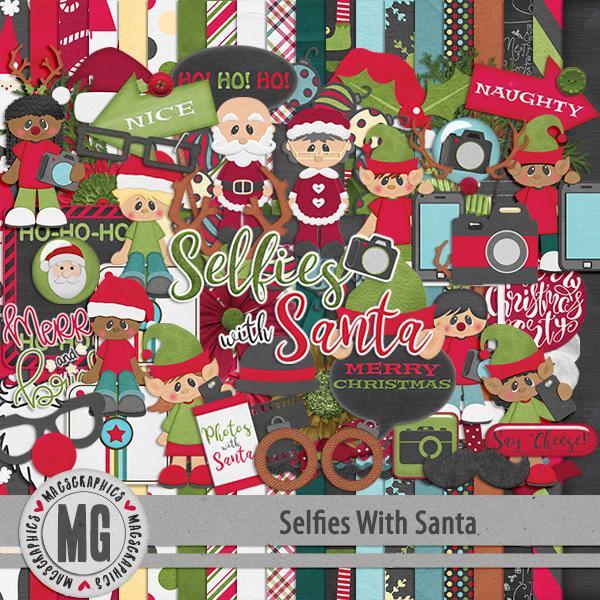Selfies With Santa Kit Digital Art - Digital Scrapbooking Kits