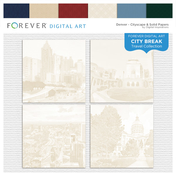 City Break - Denver - Cityscape & Solid Papers Digital Art - Digital Scrapbooking Kits
