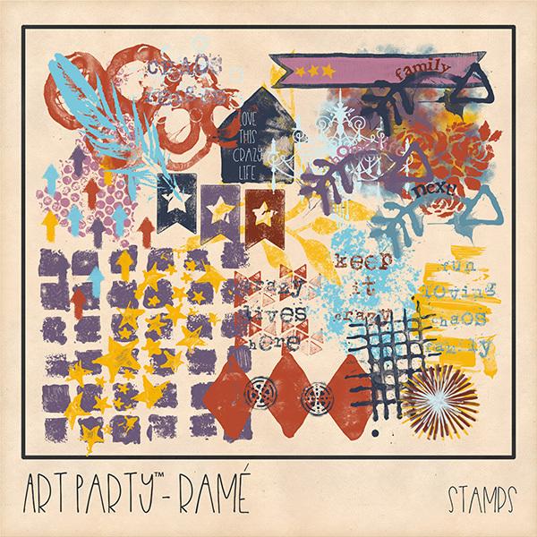 Rame Stamped Pieces Digital Art - Digital Scrapbooking Kits