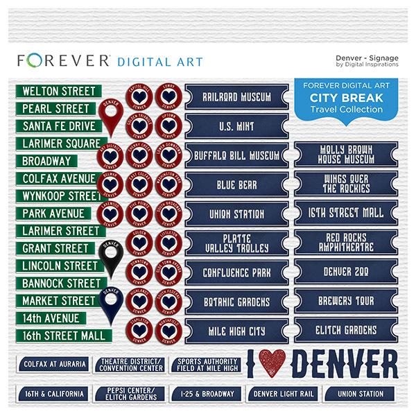 City Break - Denver - Signage Digital Art - Digital Scrapbooking Kits