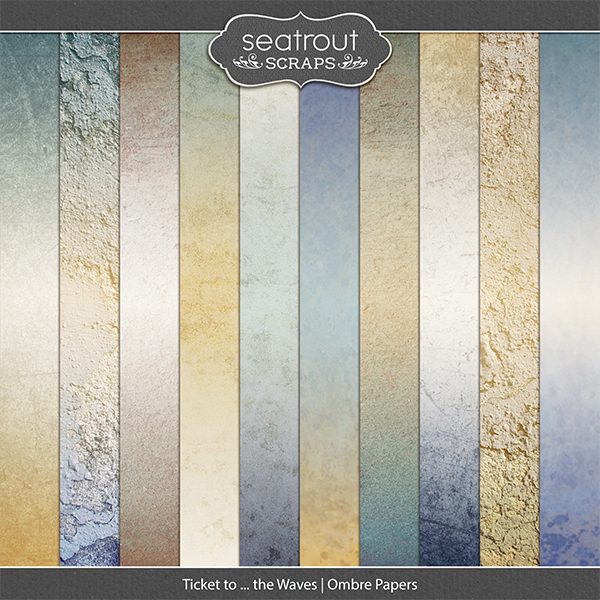 Ticket to ... the Waves Ombre Papers Digital Art - Digital Scrapbooking Kits