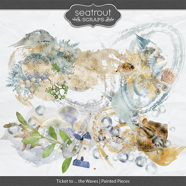 Ticket to ... the Waves Painted Pieces Digital Art - Digital Scrapbooking Kits