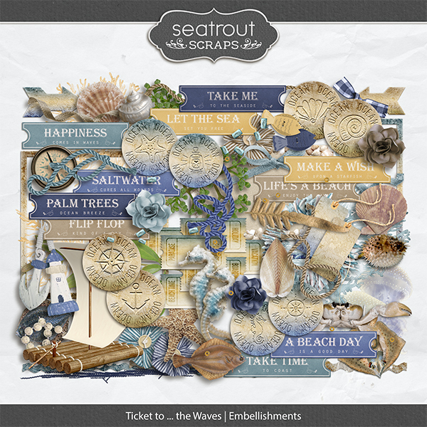 Ticket to ... the Waves Embellishments Digital Art - Digital Scrapbooking Kits