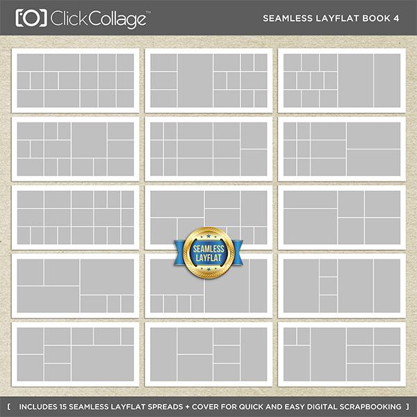 Seamless Layflat Book 4 Digital Art - Digital Scrapbooking Kits