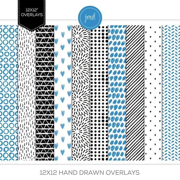 12x12 Hand Drawn Overlays Digital Art - Digital Scrapbooking Kits