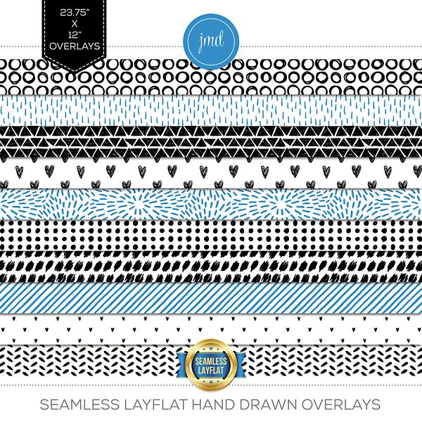 Seamless Layflat Hand Drawn Overlays Digital Art - Digital Scrapbooking Kits