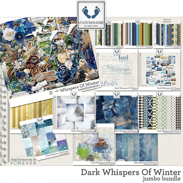 Dark Whispers Of Winter Jumbo Bundle Digital Art - Digital Scrapbooking Kits