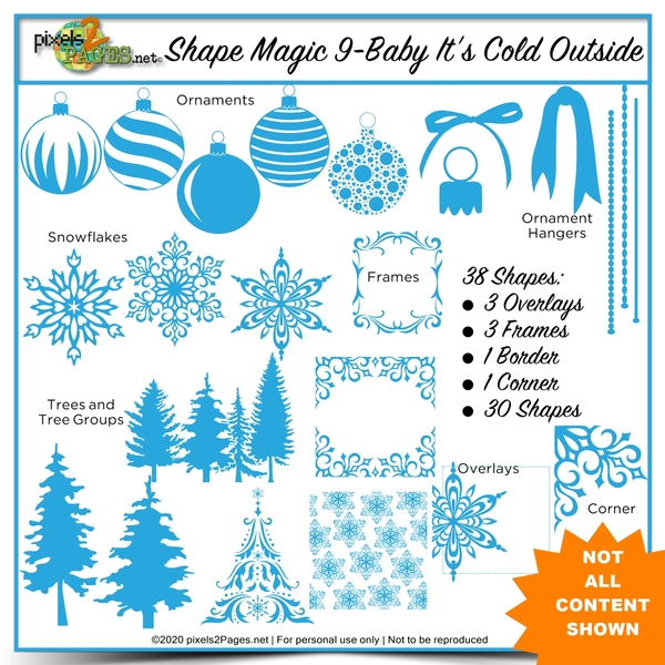 Shape Magic 9 Baby It's Cold Outside Digital Art - Digital Scrapbooking Kits