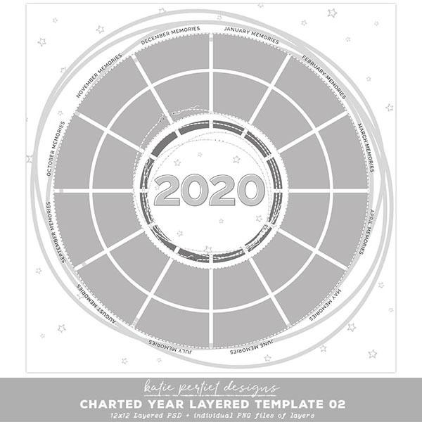 Charted Year Layered Template 02 Digital Art - Digital Scrapbooking Kits