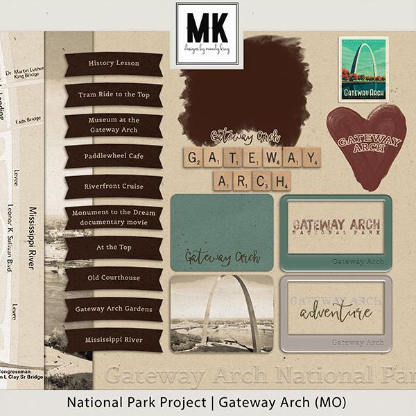 National Park Project Gateway Arch (MO) Digital Art - Digital Scrapbooking Kits