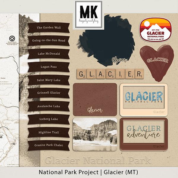 National Park Project Glacier (MT) Digital Art - Digital Scrapbooking Kits