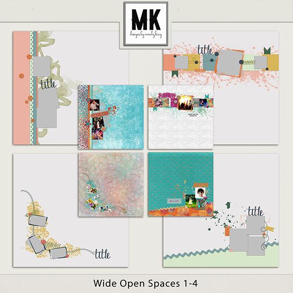 Wide Open Spaces 1-4 Digital Art - Digital Scrapbooking Kits