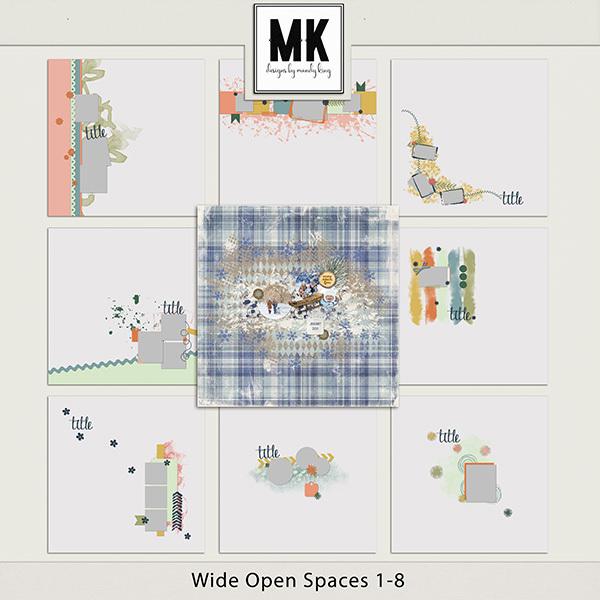 Wide Open Spaces 1-8 Digital Art - Digital Scrapbooking Kits