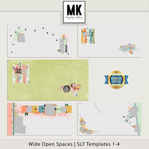 Wide Open Spaces SLF Templates 1-4 Digital Art - Digital Scrapbooking Kits