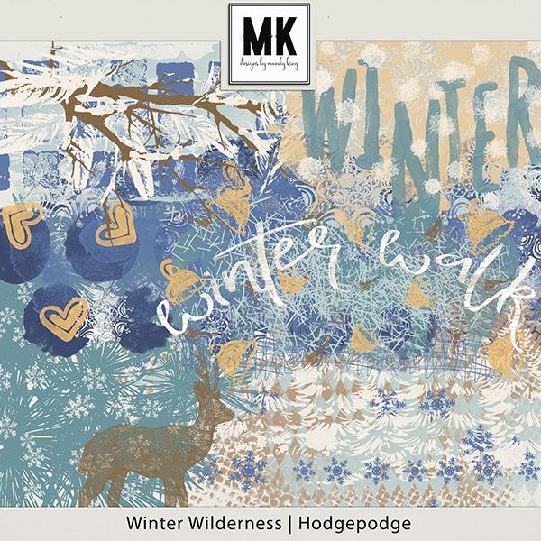 Winter Wilderness Hodgepodge Digital Art - Digital Scrapbooking Kits