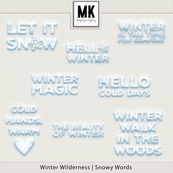Winter Wilderness Snowy Words Digital Art - Digital Scrapbooking Kits