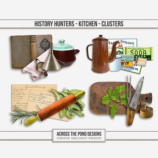 History Hunters - Kitchen Clusters Digital Art - Digital Scrapbooking Kits