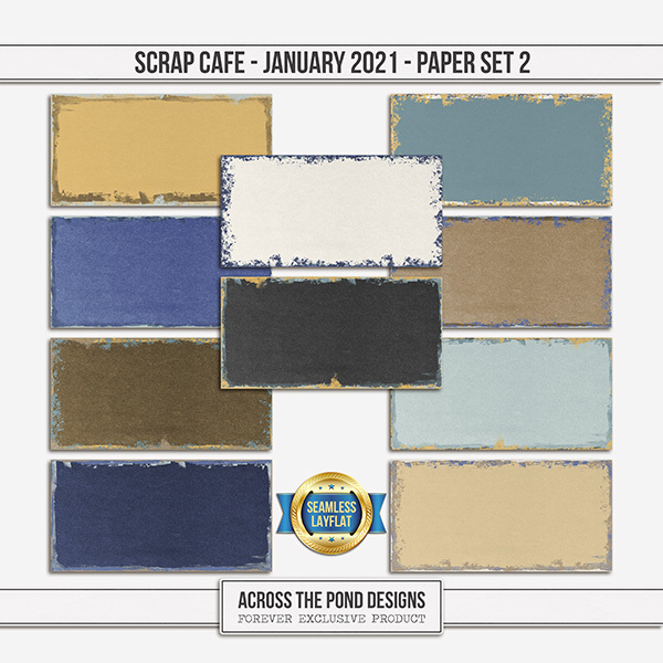 Scrap Cafe January 2021 SLF Paper Set 2 Digital Art - Digital Scrapbooking Kits