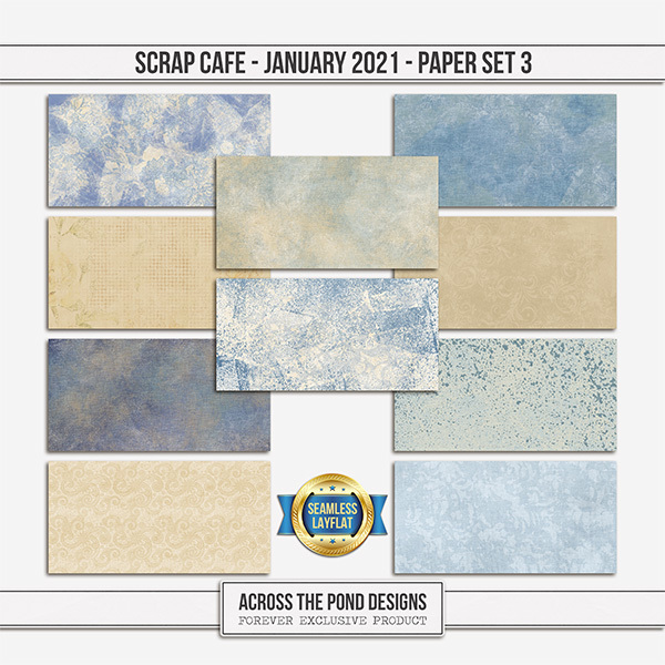 Scrap Cafe January 2021 SLF Paper Set 3 Digital Art - Digital Scrapbooking Kits