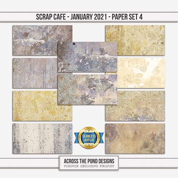 Scrap Cafe January 2021 SLF Paper Set 4 Digital Art - Digital Scrapbooking Kits