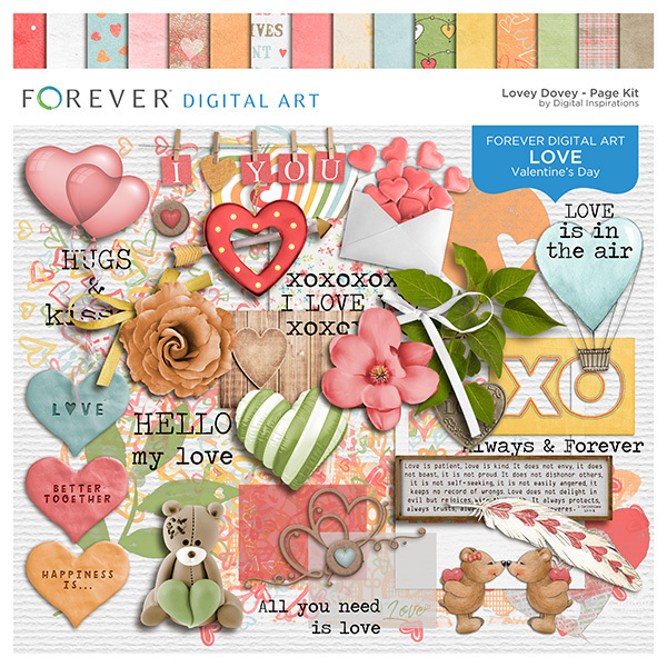 Lovey Dovey Page Kit Digital Art - Digital Scrapbooking Kits