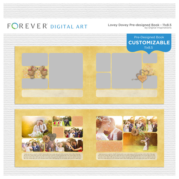 Lovey Dovey Pre-Designed Book 11x8.5 Digital Art - Digital Scrapbooking Kits