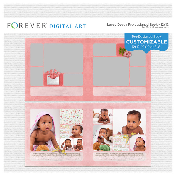 Lovey Dovey Pre-Designed Book 12x12 Digital Art - Digital Scrapbooking Kits