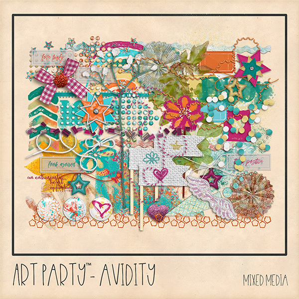 Avidity Mixed Media Embellishments Digital Art - Digital Scrapbooking Kits