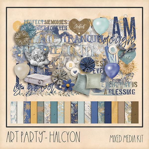 Halcyon Mixed Media Kit Digital Art - Digital Scrapbooking Kits